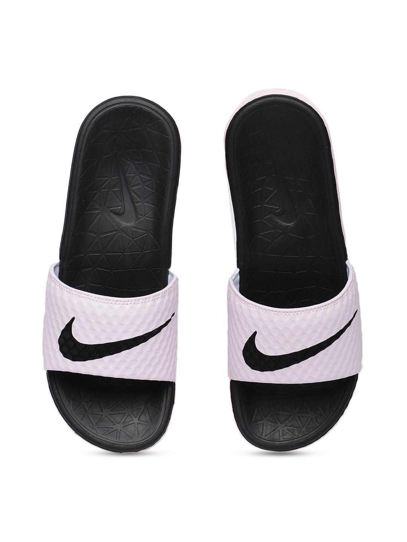 5fcd5db6e267 Buy Nike Women White   Pink Benassi SolarSoft Solid Sliders - Flip Flops  for Women 4030131