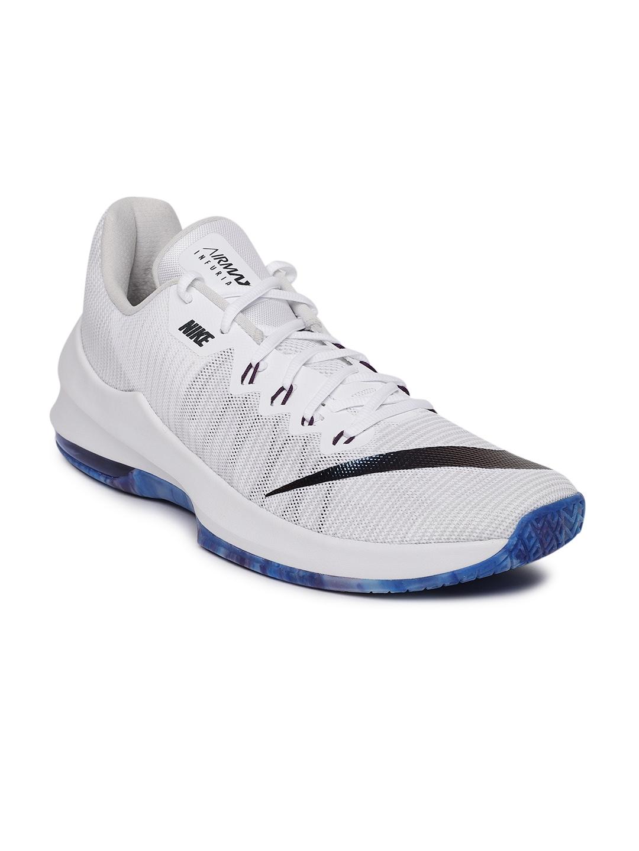 cheap for discount 29b1b 115f6 Nike Men White Air Max Infuriate II Premium Basketball Shoes