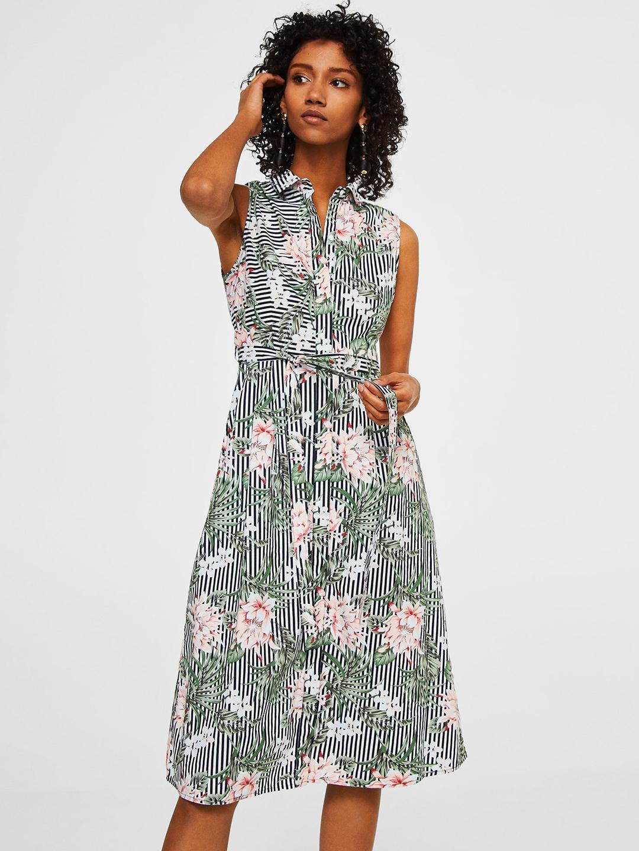 3b589f155ca Buy MANGO Women Off White   Black Striped Floral Print Shirt Dress ...