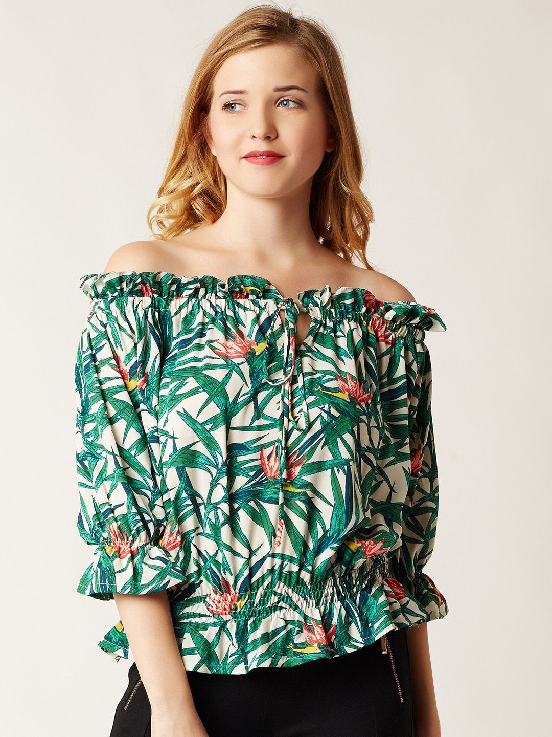 Miss Chase Women White Printed Top