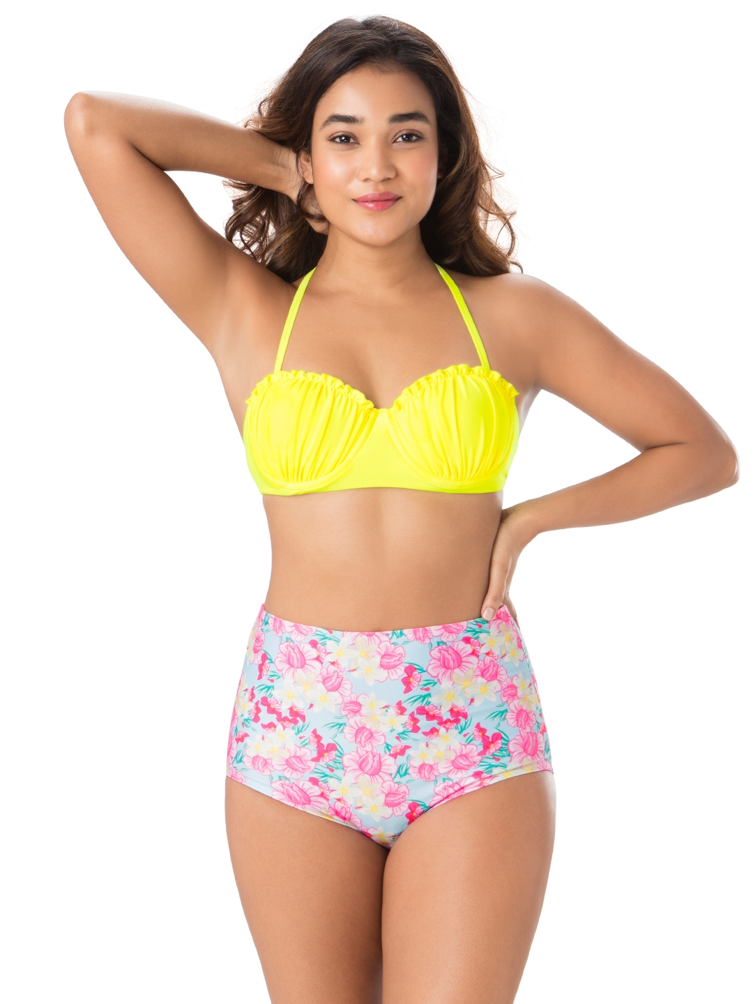 PrettySecrets Women Yellow & Pink Printed Swim Bikini Set SW019SS18
