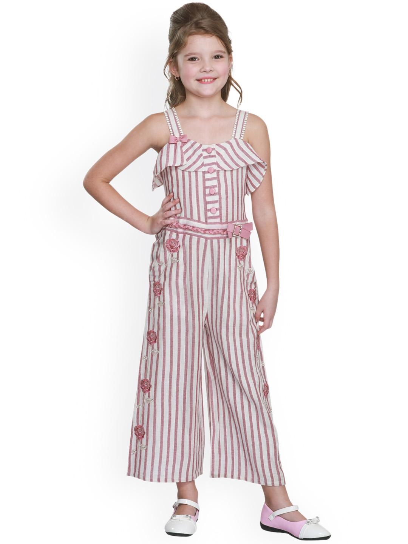 ced7381eb3 Buy CUTECUMBER Girls White & Pink Striped Basic Jumpsuit - Jumpsuit ...