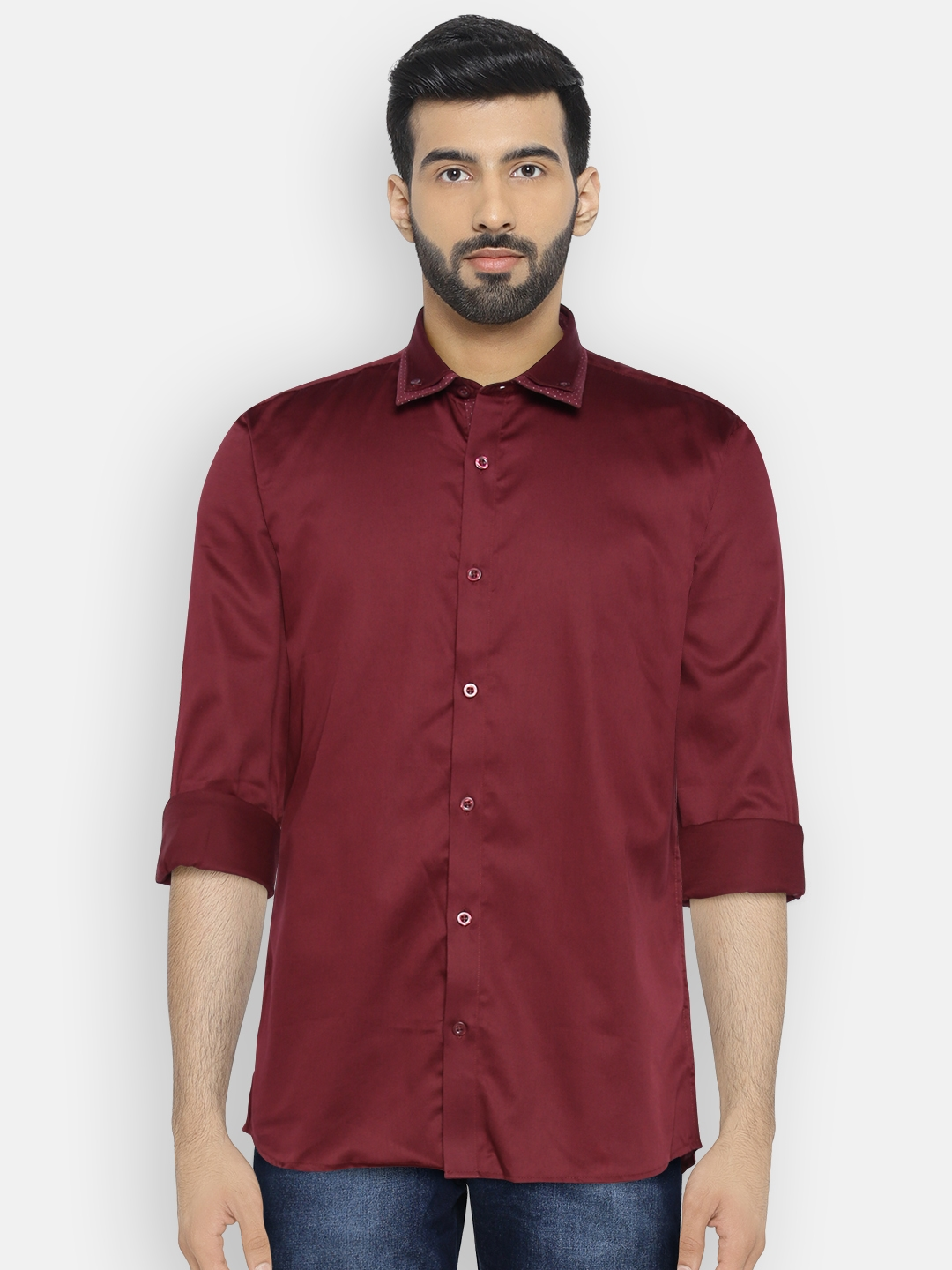 0e15c00346 Buy Independence Club Men Maroon Slim Fit Solid Casual Shirt ...