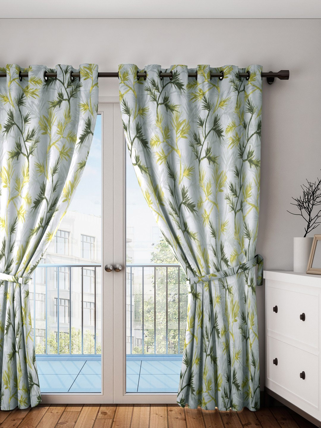 Buy Swayam Sea Green Yellow Single Door Curtain Curtains And Sheers For Unisex 4145760 Myntra