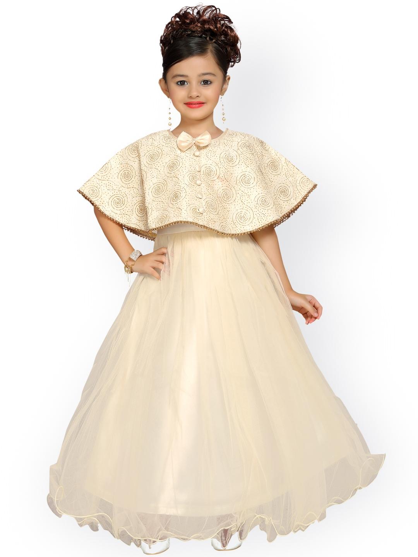 1a65e779b0f4 Buy ADIVA Girls Cream Coloured Solid Maxi Dress - Dresses for Girls ...