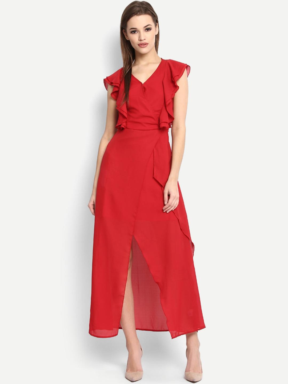 4865996db556b Buy StalkBuyLove Women Red Solid Maxi Dress - Dresses for Women ...