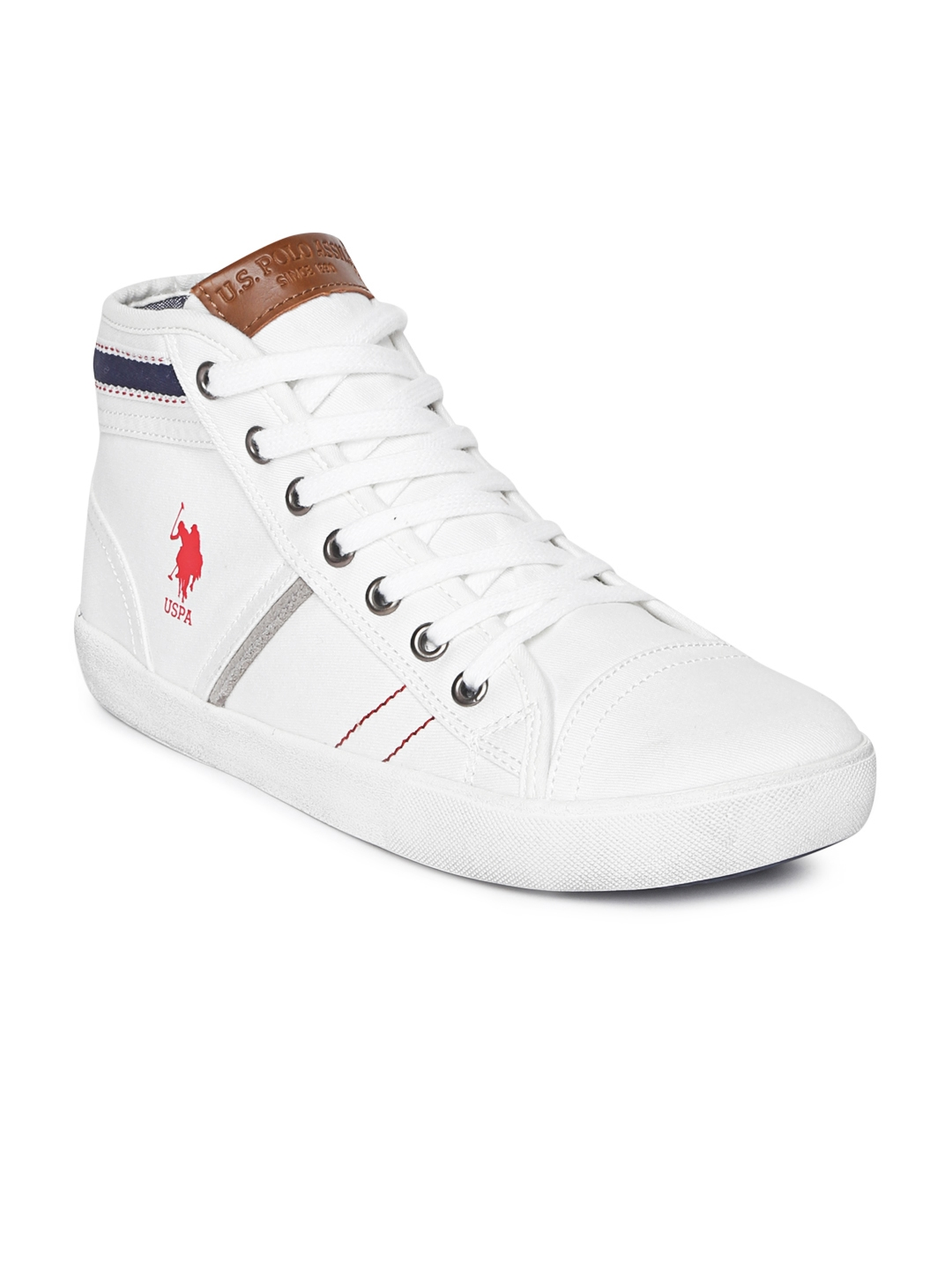 f7219069a75 Buy U.S. Polo Assn. Men White Solid Greevs Mid Top Sneakers - Casual ...