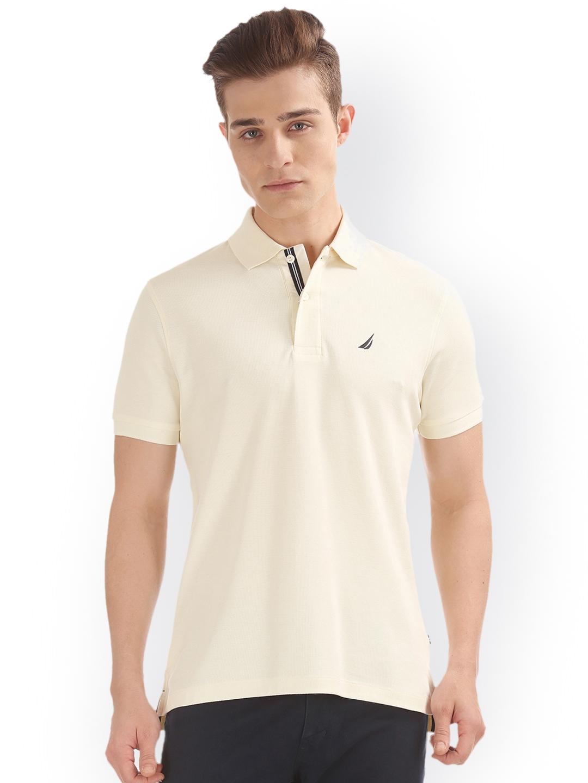 c7f026d4c8d2b Buy Nautica Men Off White Solid Polo Collar Slim Fit T Shirt ...