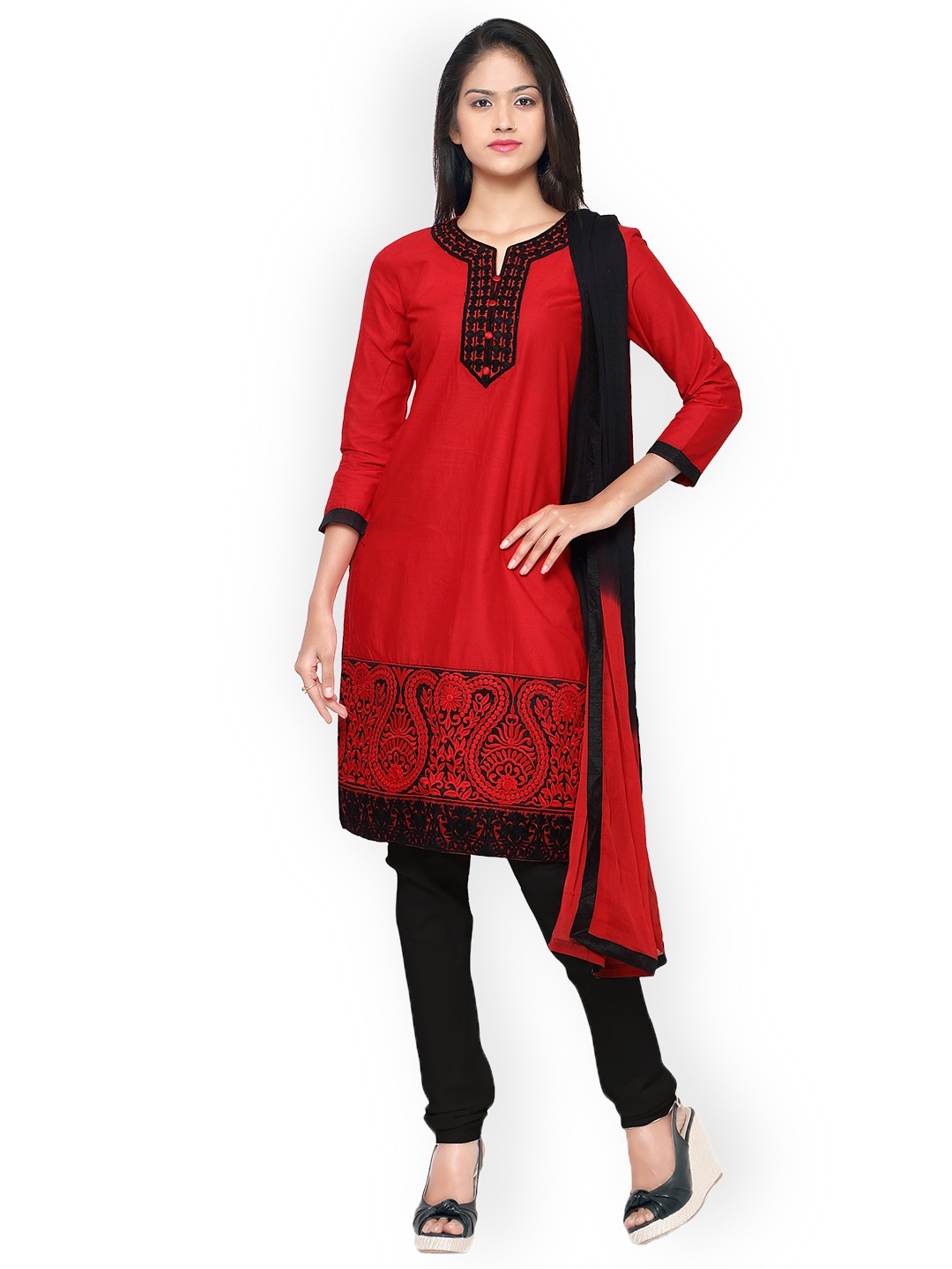Kvsfab Red   Black Pure Cotton Embroidered Unstitched Dress Material