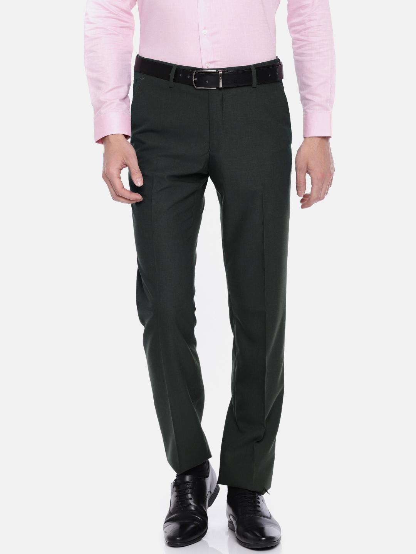 ce8075b8b7 Van Heusen Men Charcoal Grey Slim Fit Self Design Formal Trousers
