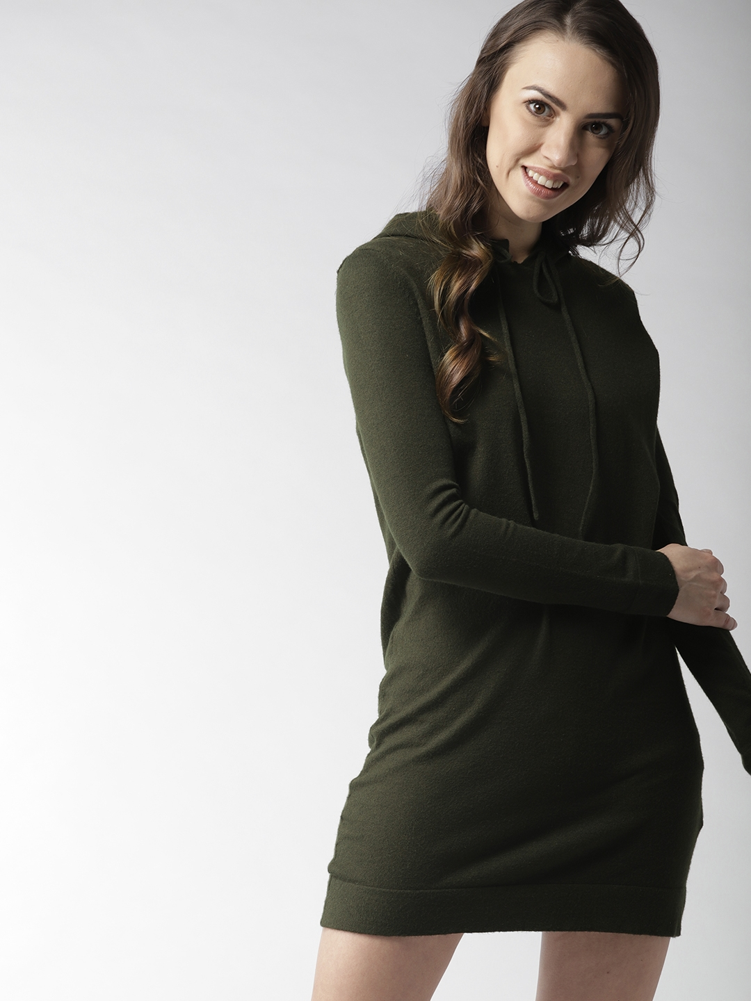 357c2796cf Buy FOREVER 21 Women Olive Green Solid Sweater Dress - Dresses for ...