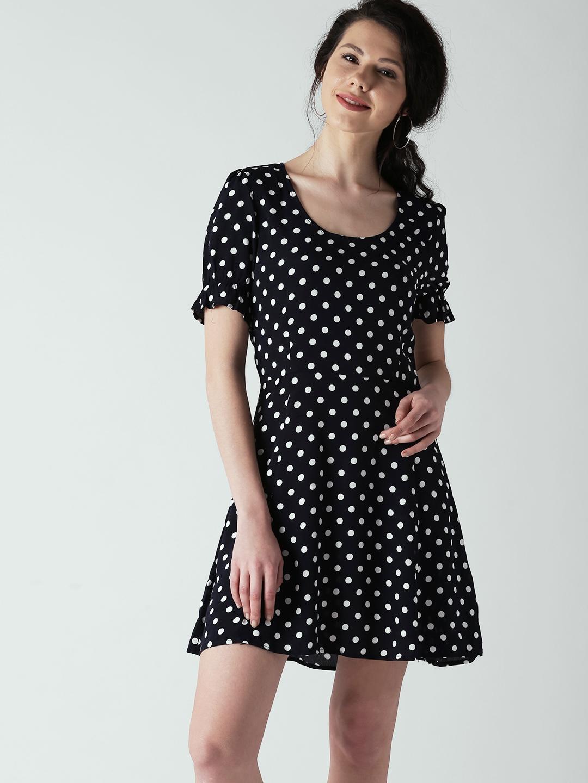 8ce719d708e Buy FOREVER 21 Women Navy Blue Polka Dot Print Fit   Flare Dress ...