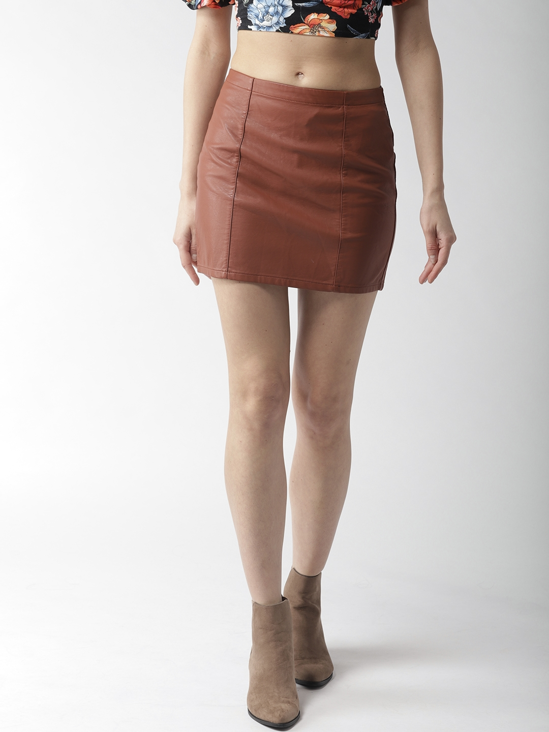 33aaa77d8 Buy FOREVER 21 Brown Faux Leather Mini Pencil Skirt - Skirts for ...
