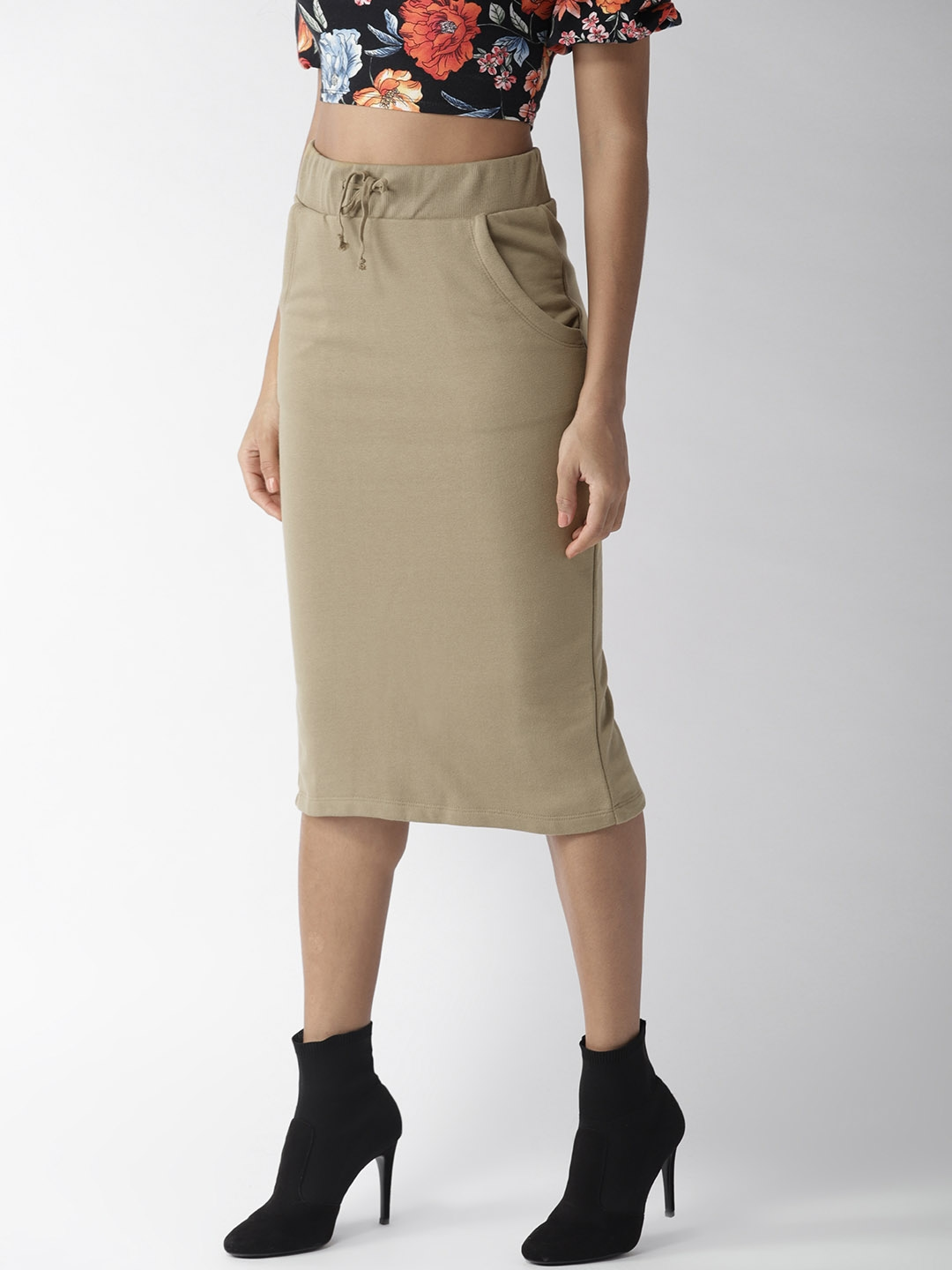 22d1e91f14 Buy FOREVER 21 Olive Brown Midi Pencil Skirt - Skirts for Women ...