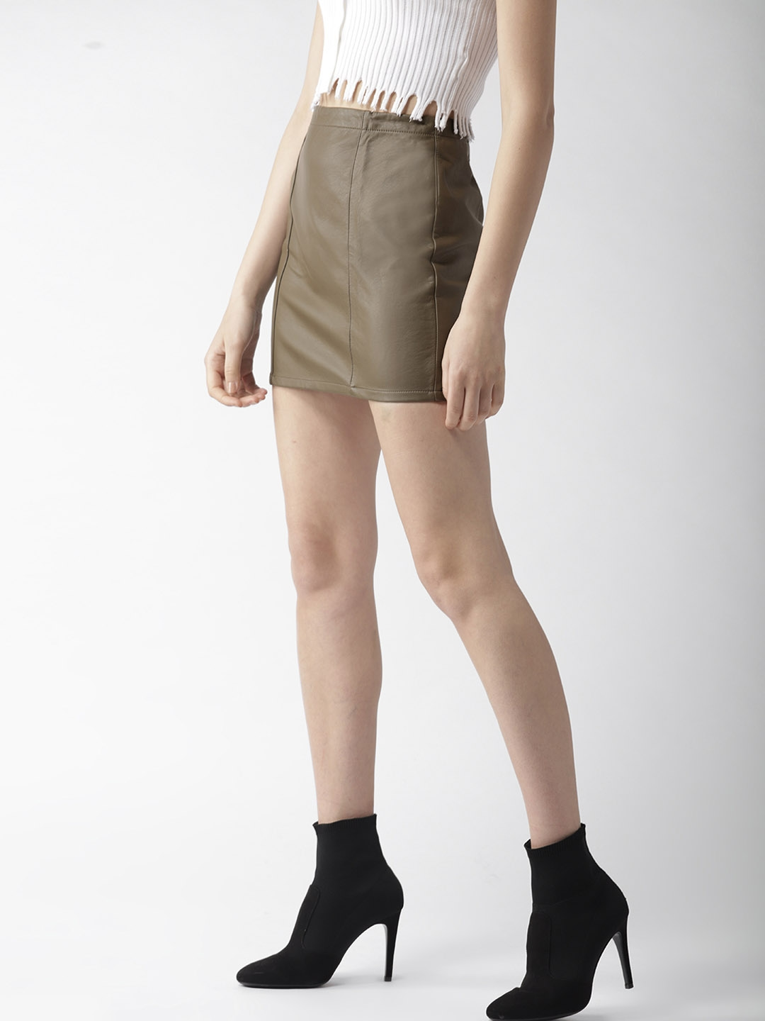 7092920e0 Buy FOREVER 21 Olive Brown Faux Leather Mini A Line Skirt - Skirts ...