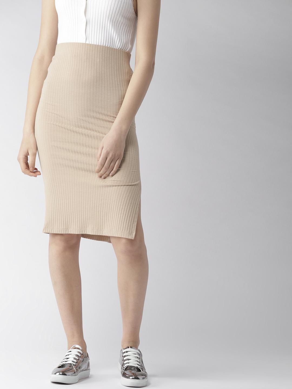 eb053da047c0 Buy FOREVER 21 Beige Self Striped Pencil Skirt - Skirts for Women ...