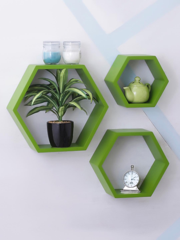 Home Sparkle Green MDF Basic Wall Shelf