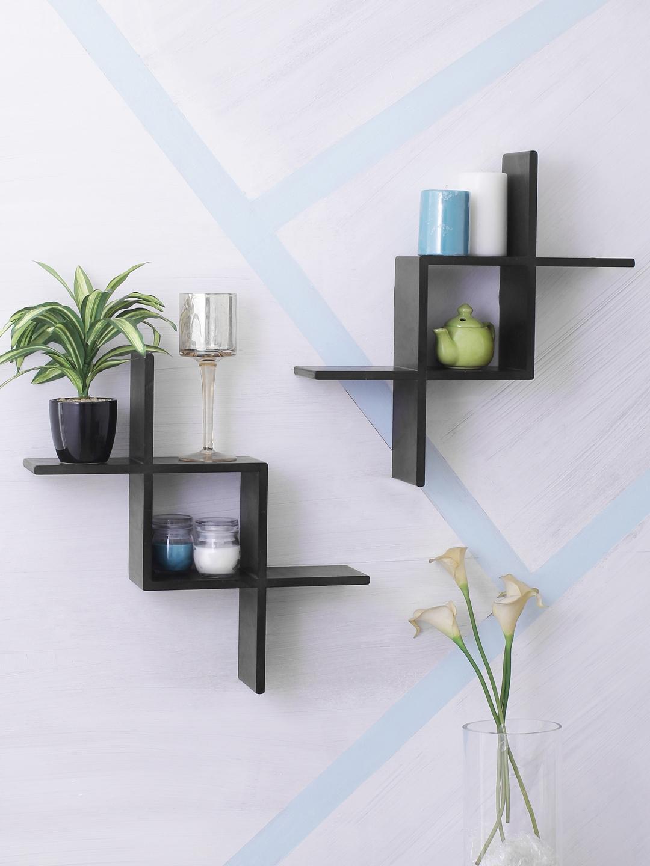 Home Sparkle Black MDF Basic Wall Shelf
