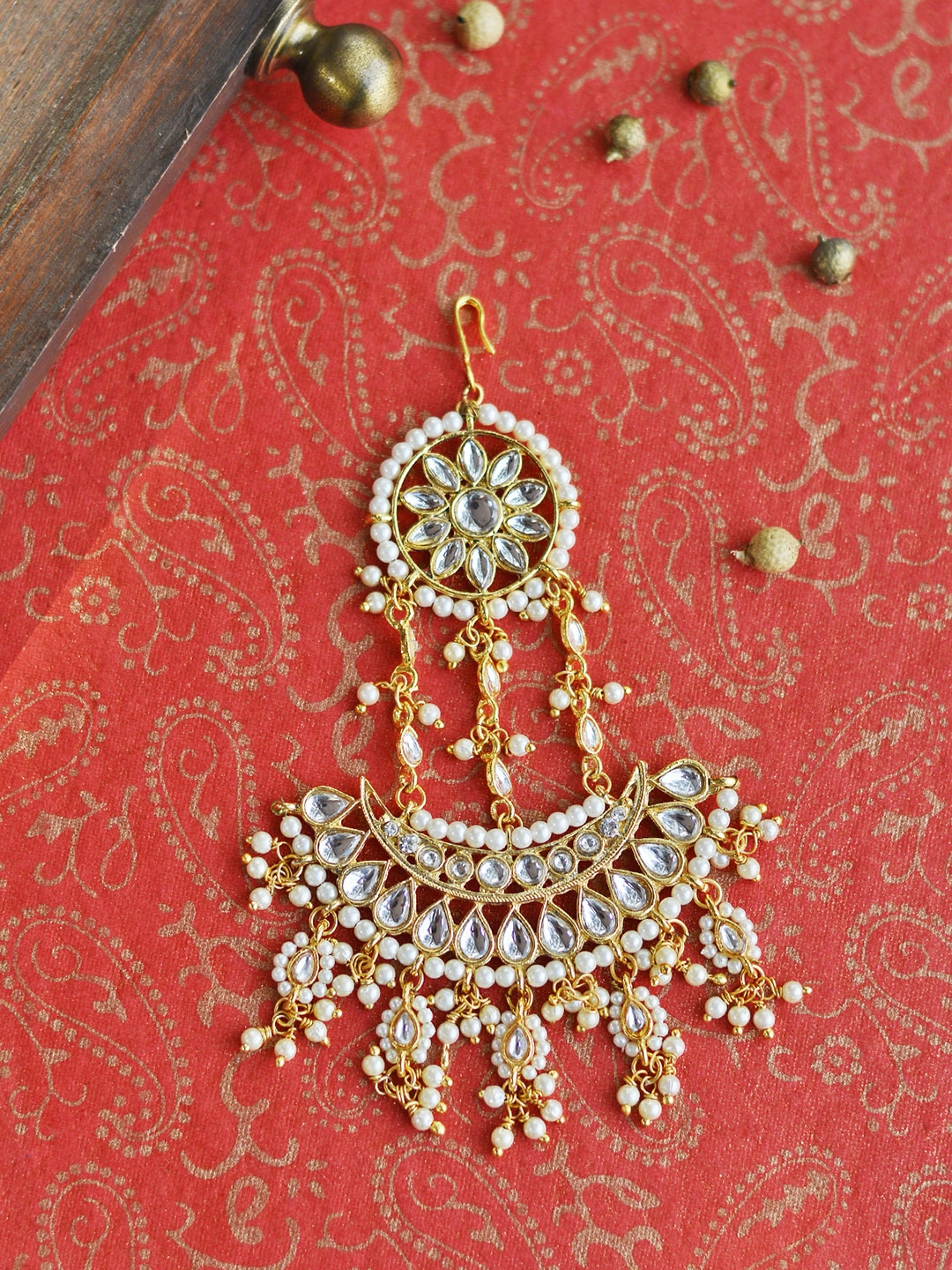 Precise Gold Tone Kundan Stone Ethnic Traditional Jhoomar Passa Forehead Jewellery Bridal & Wedding Party Jewelry