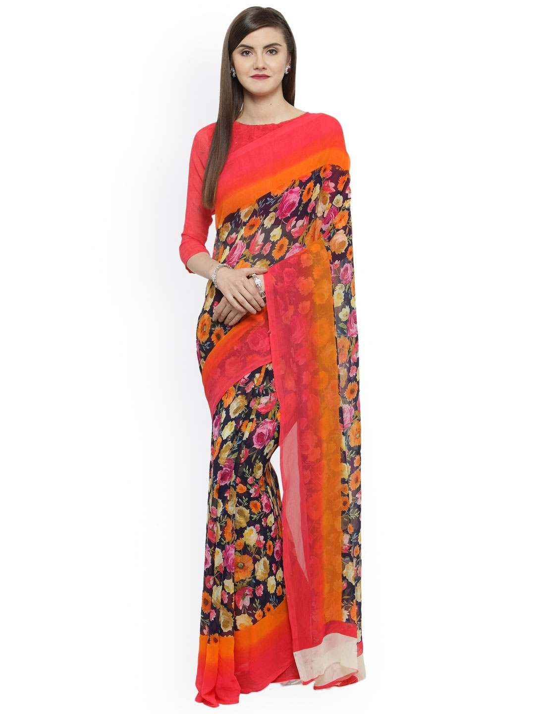 521116cfc62 Buy Shaily Pink   Orange Pure Georgette Printed Saree - Sarees for ...