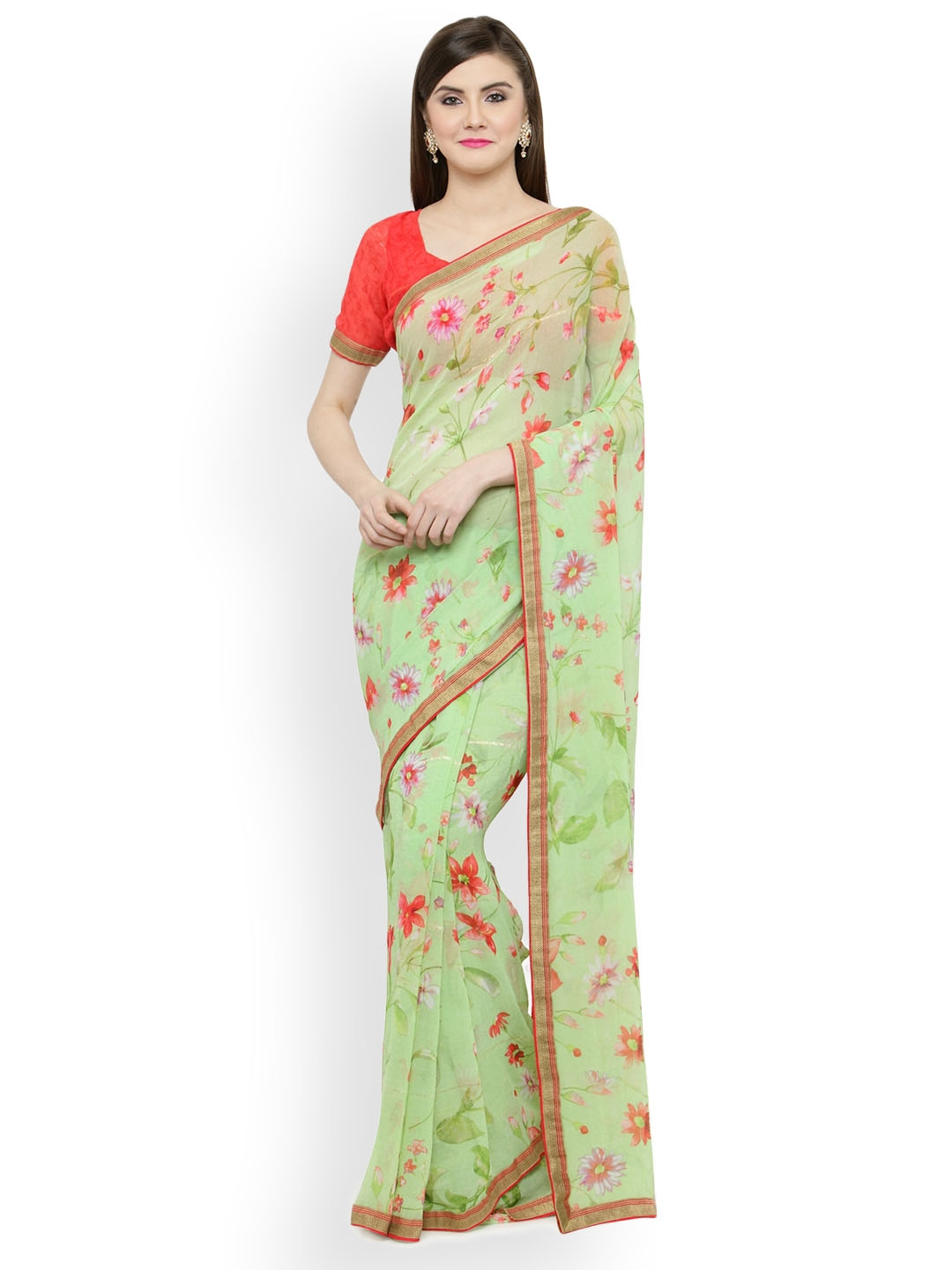 19217445b Buy Shaily Green Printed Satin Saree - Sarees for Women 4315433