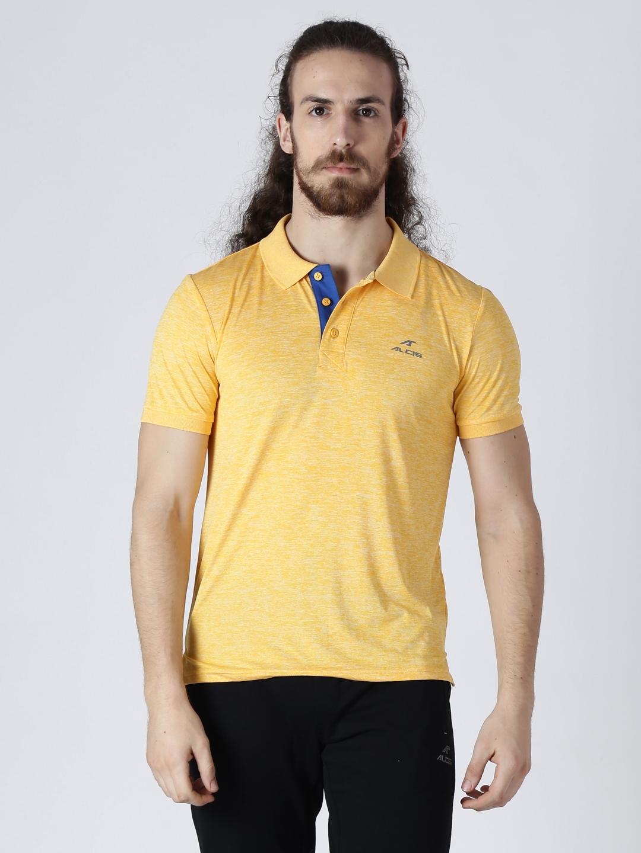 4156bd92 Buy Alcis Men Yellow Solid Polo Collar Slim Fit T Shirt - Tshirts ...