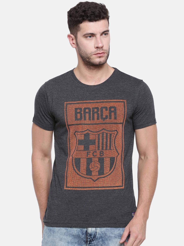 4bc061f399d Buy FC Barcelona Men Grey Self Design Round Neck T Shirt - Tshirts ...