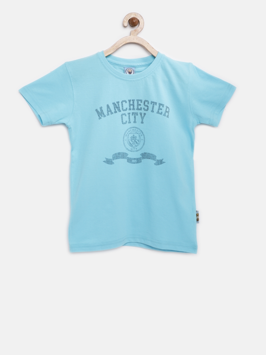 Buy Manchester City FC Boys Blue Printed Round Neck T Shirt ... 05d44f6210a4