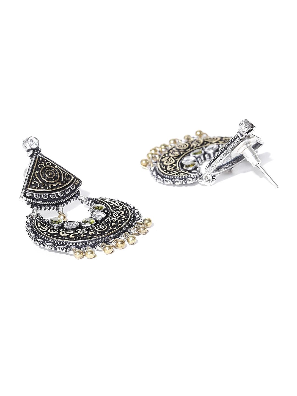 6e8a497f7 Infuzze Oxidised Silver-Toned & Antique Gold-Toned Stone-Studded Geometric Drop  Earrings