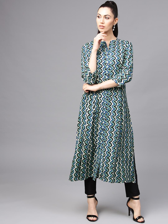 76978bb17 Buy AKS Women Multicoloured Printed A Line Kurta - Kurtas for Women ...