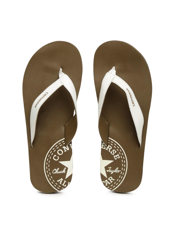 5a39e579de0967 Buy Converse Men White   Brown Printed Thong Flip Flops - Flip Flops ...