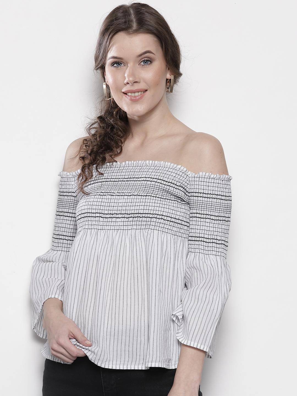 ac37a822da5 Buy DOROTHY PERKINS Women White & Black Striped Bardot Top - Tops ...