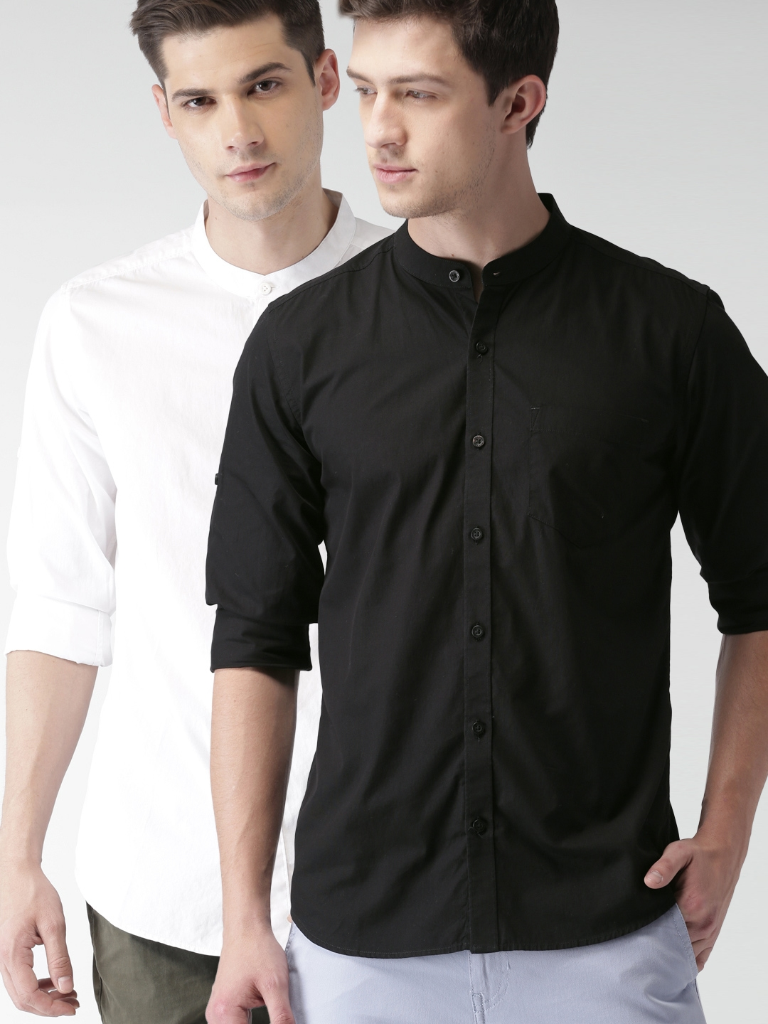 HIGHLANDER Men Set Of 2 Slim Fit Solid Casual Shirts