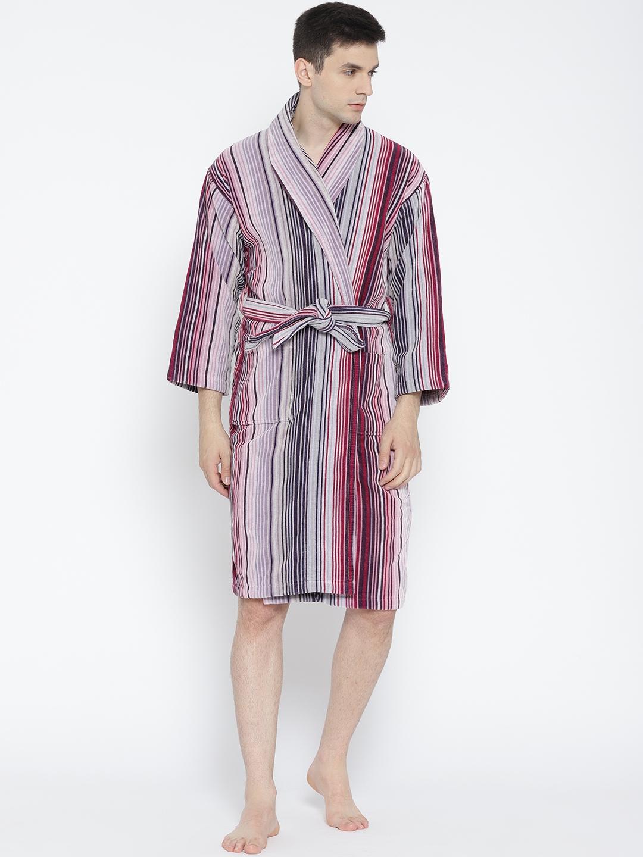 baffc2f9c0 Buy CHRISTY Unisex Purple   Magenta Striped Bathrobe - Bath Robe for ...
