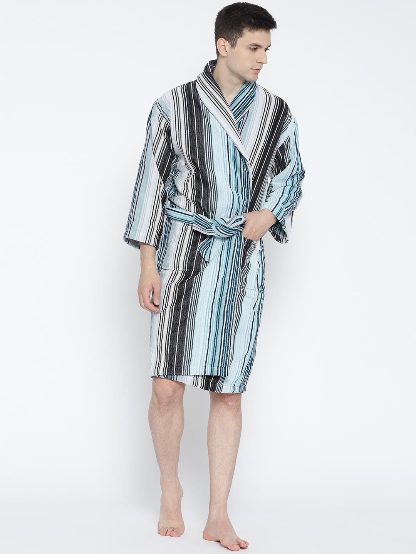 7f965c445e Buy CHRISTY Unisex Blue   Charcoal Grey Striped Bathrobe - Bath Robe ...