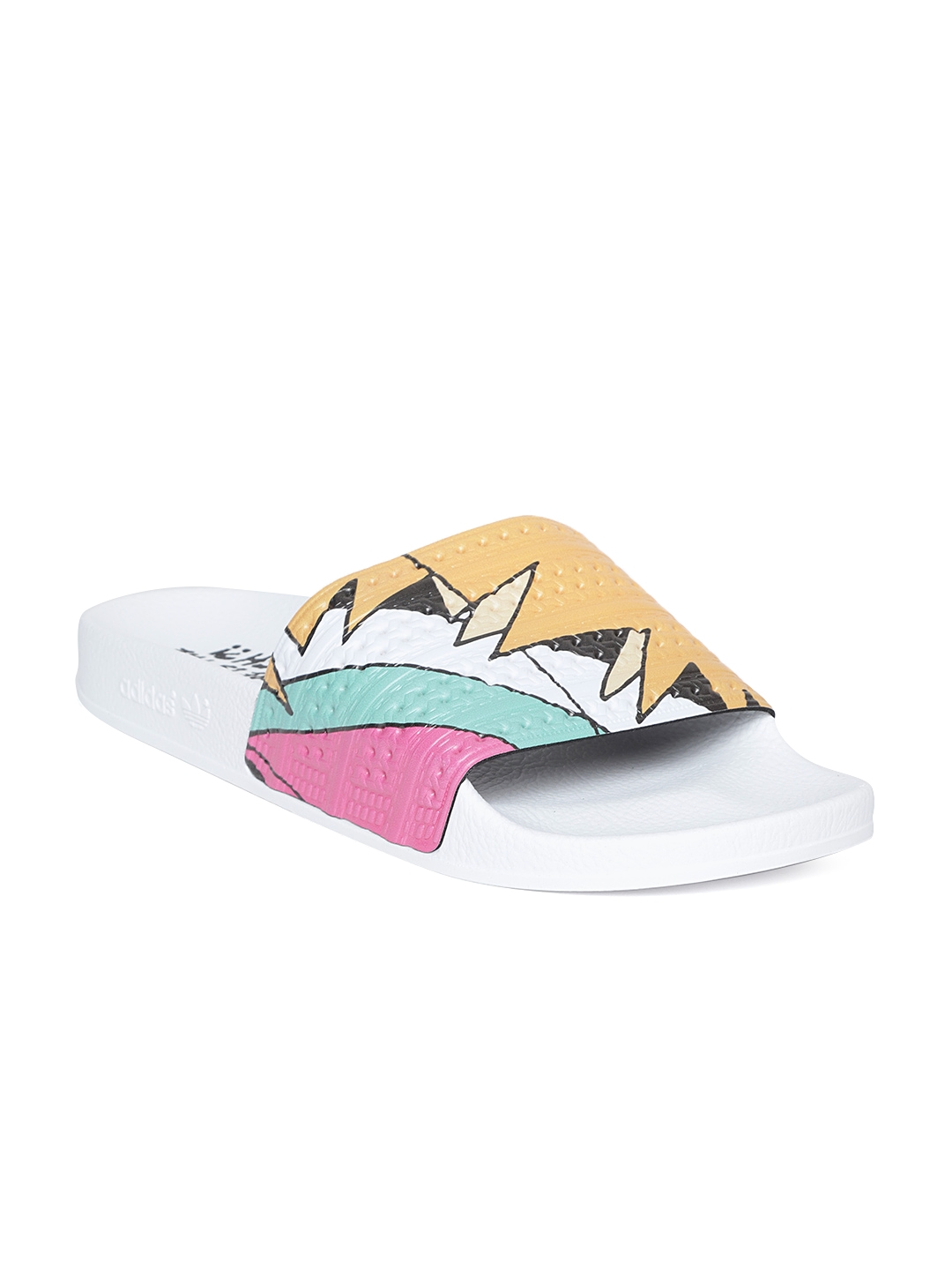 5fe3b7a7e7a15d Buy ADIDAS Originals Men White   Mustard Printed Sliders - Flip ...