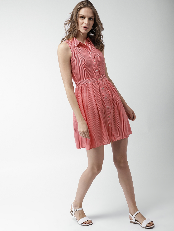 8d83c25248db7e Buy Mast & Harbour Women Red & White Striped Shirt Dress - Dresses ...