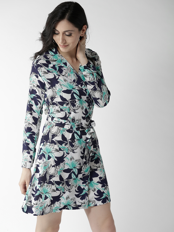 16b212bd2b31 Buy Style Quotient Women White   Navy Printed Shirt Dress - Dresses ...