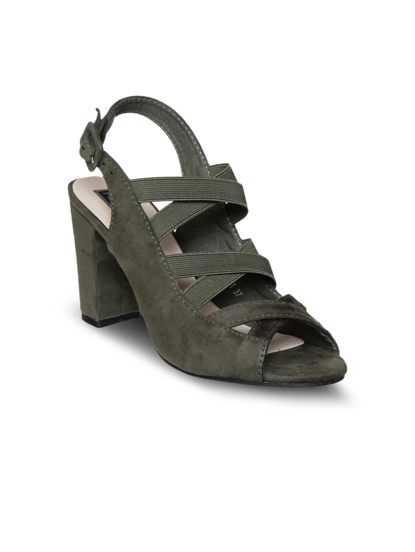 db9a8995 Buy Flat N Heels Women Green Suede Solid Sandals - Heels for Women ...