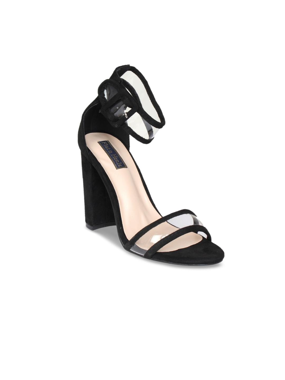 91067ead Buy Flat N Heels Women Black Solid Suede Sandals - Heels for Women ...
