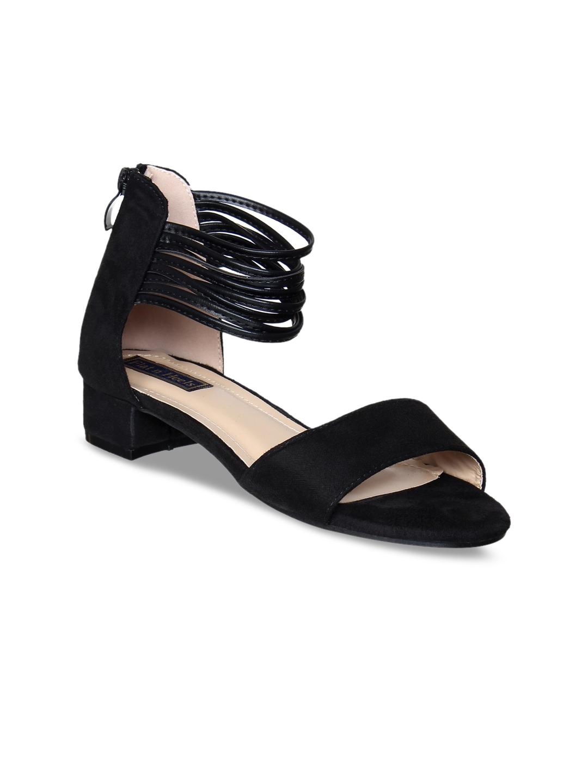 a9c08bba Buy Flat N Heels Women Black Solid Sandals - Heels for Women 4320830 ...