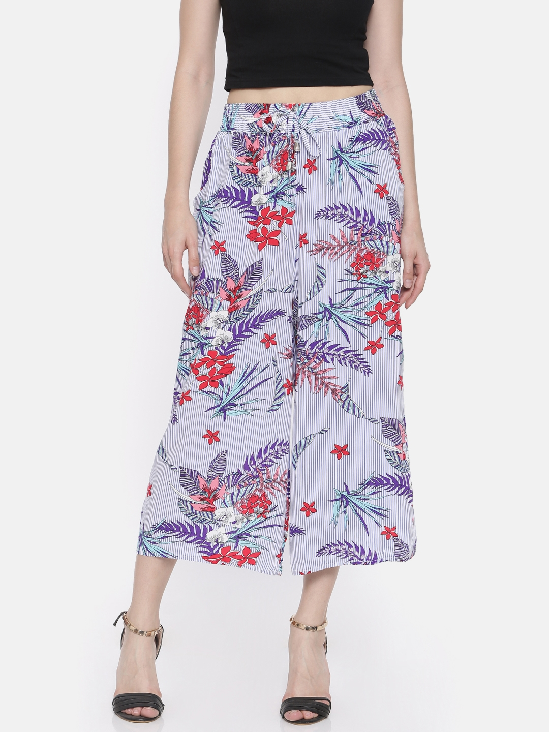 73925f133f0b Buy Ginger By Lifestyle Women Blue Striped Regular Fit Culottes ...