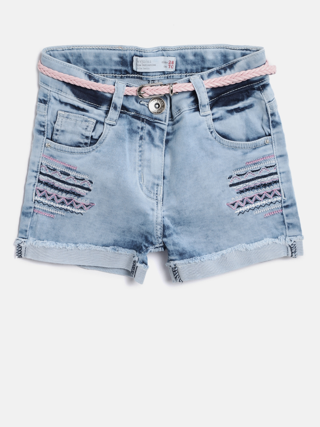 491a00b335 Buy Tiny Girl Blue Washed Regular Fit Denim Shorts - Shorts for ...