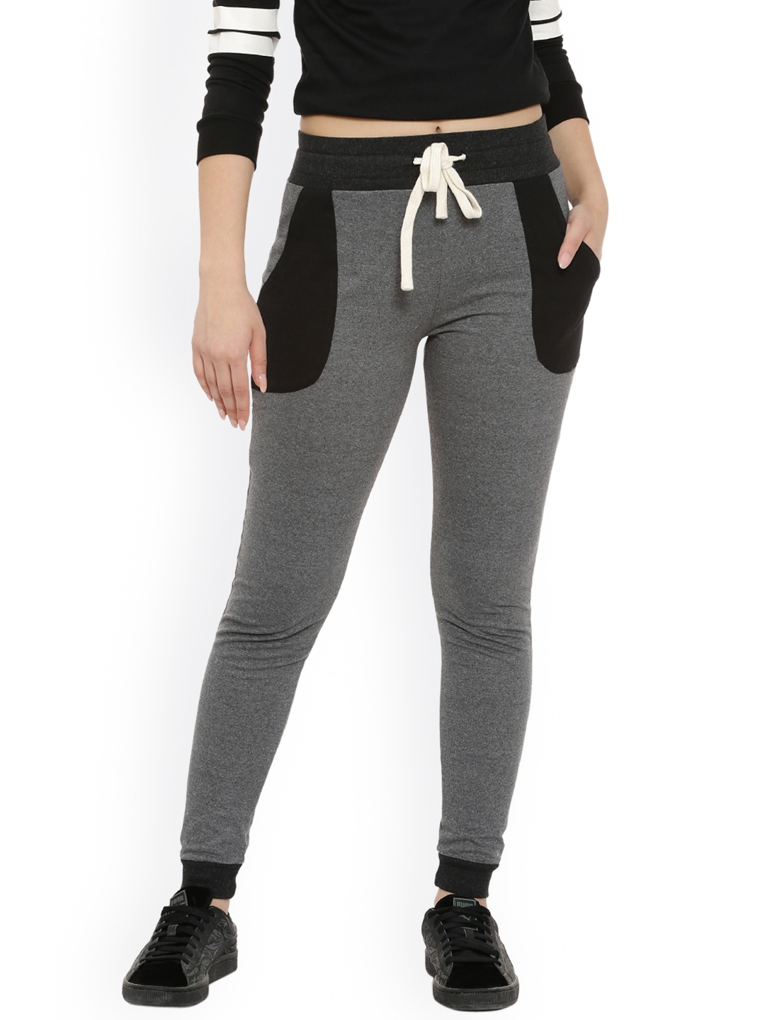 Campus Sutra Women Charcoal Track Pants