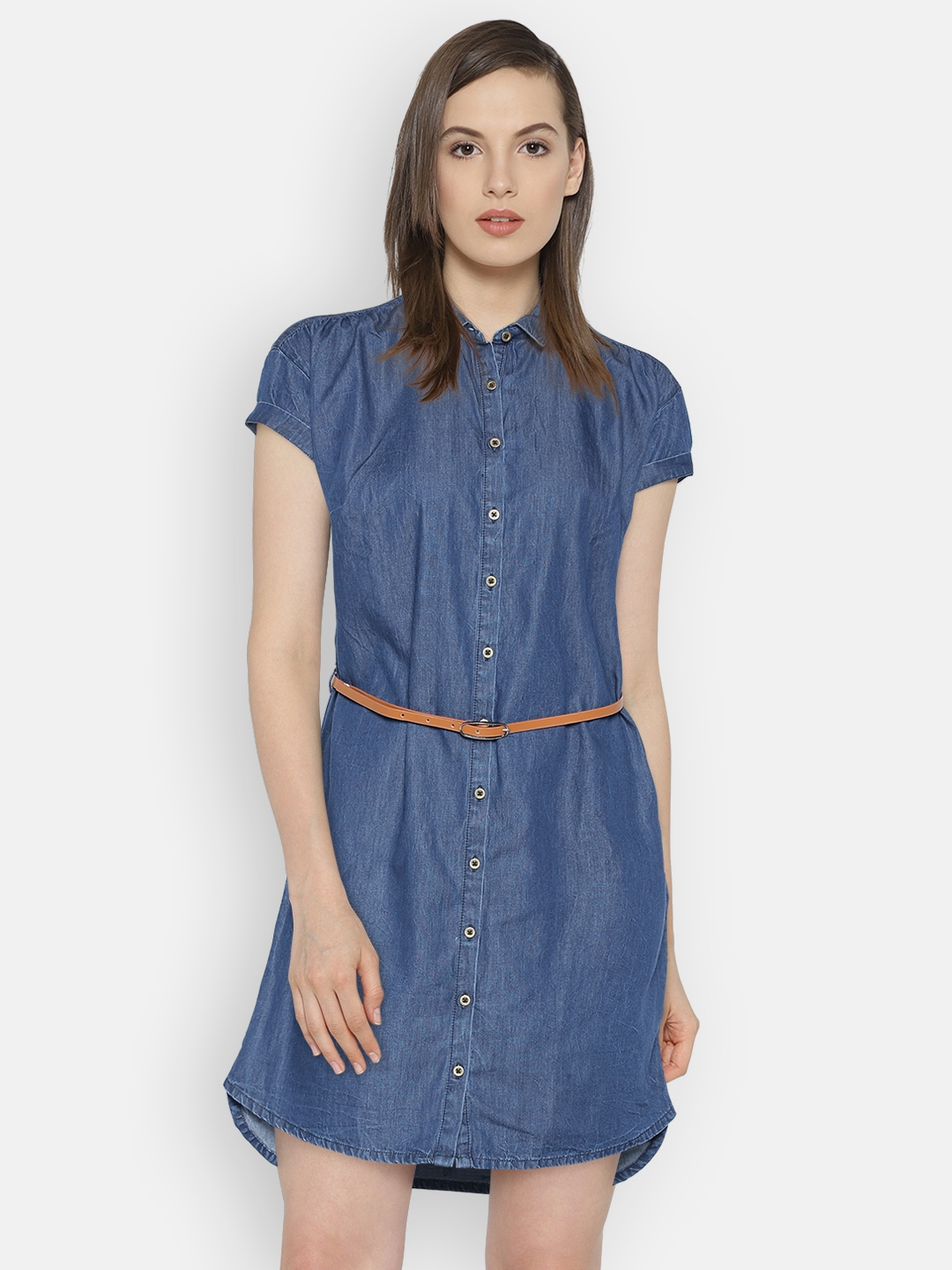 ccb3fbdcb2 Buy Pepe Jeans Women Blue Solid Shirt Dress - Dresses for Women ...