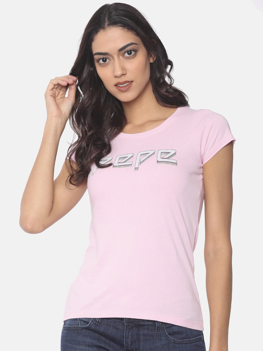 efee183457 Buy Pepe Jeans Women Pink Printed Round Neck T Shirt - Tshirts for ...