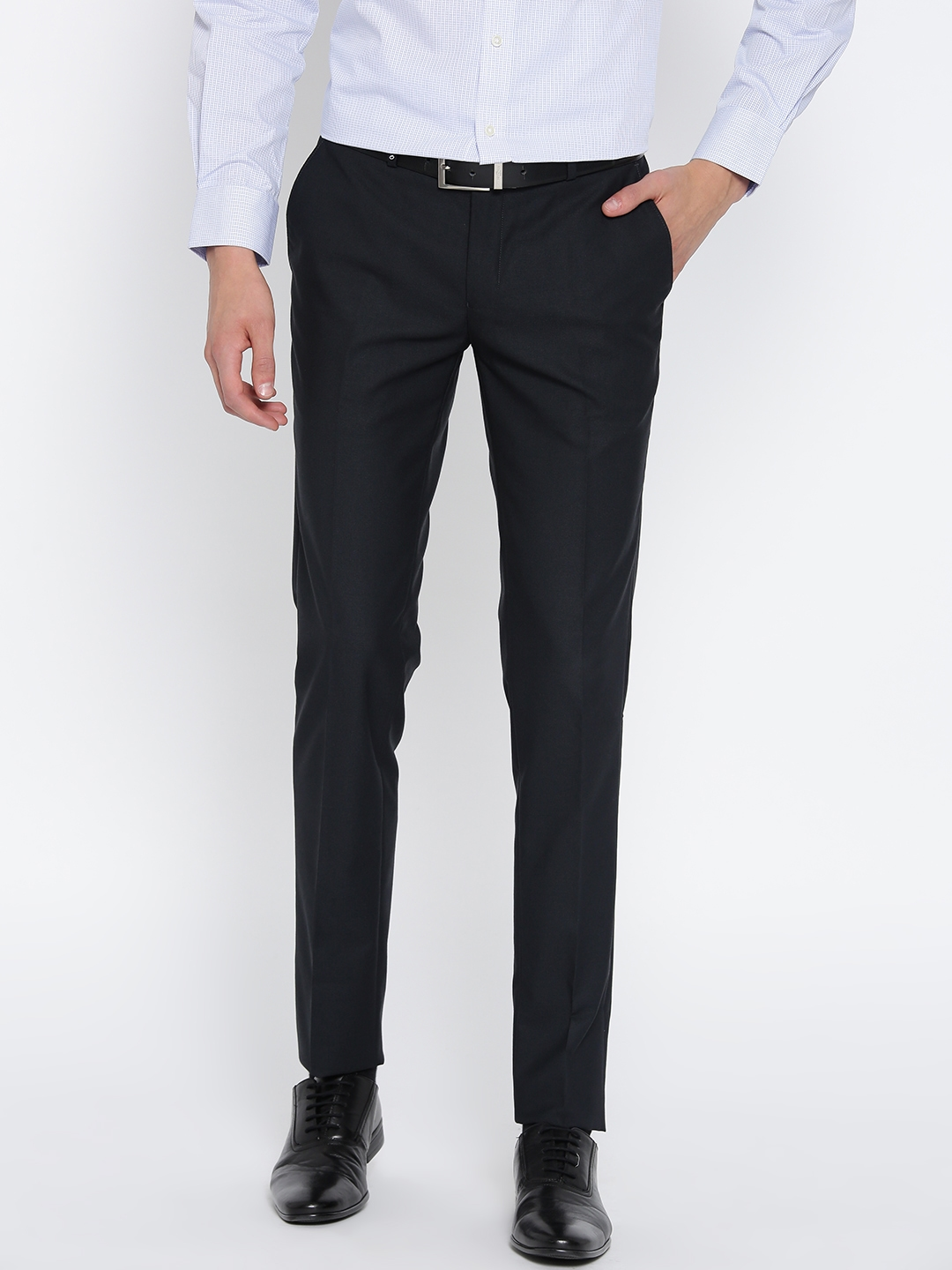 854762f1e08 Buy Oxemberg Men Navy Blue Diet Fit Solid Formal Trousers - Trousers ...