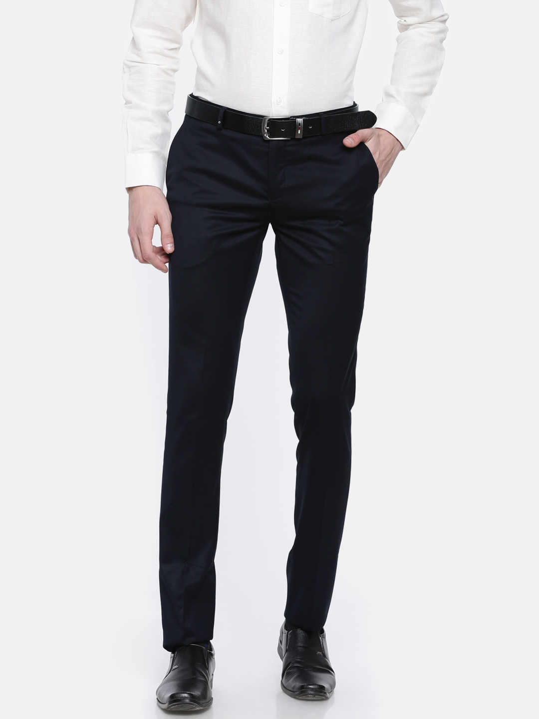 fc1c358aae8 Buy Oxemberg Men Navy Diet Fit Solid Formal Trousers - Trousers for ...