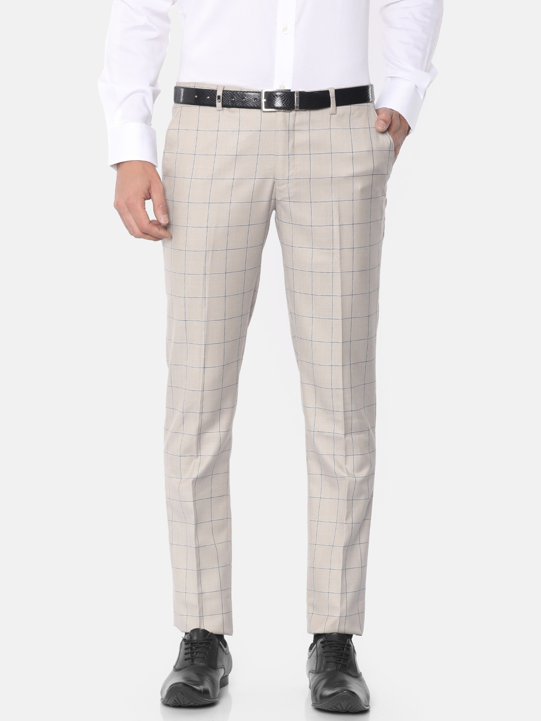 bd2a551eac3 Buy Oxemberg Men Beige Slim Fit Checked Formal Trousers - Trousers ...
