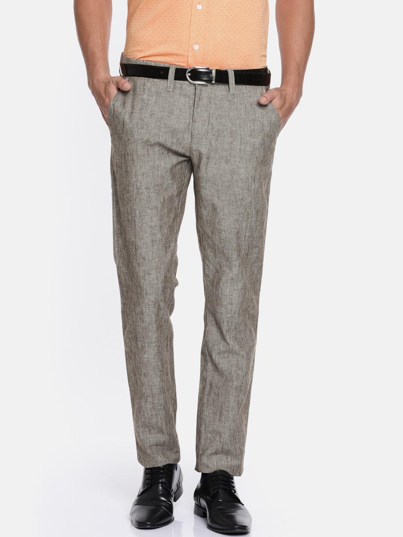 635cd43dc20 Buy Oxemberg Men Brown Slim Fit Solid Linen Formal Trousers ...